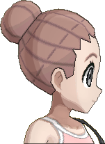 Pokemon Sun Hairstyle Girl Cornrow Bun Pink Brown (side)